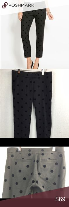 "Vineyard Vines polka dot flocked wool ankle pants So cute for fall! The dots are a flocked velvet raised fabric. Preowned, no holes or stains, 26.5"" inseam, 14.5"" at waist lying flat Vineyard Vines Pants Ankle & Cropped"