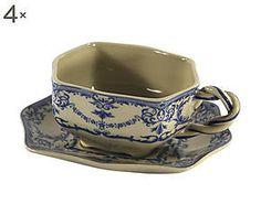 Set di 4 tazze da te' con piattini in ceramica stoneware - h 7 cm