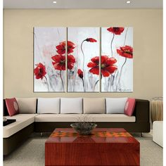 Shop for Silver Orchid Hand-painted Oil 'Red Flowers' Gallery-wrapped Canvas Art Set. Get free delivery On EVERYTHING* Overstock - Your Online Art Gallery Destination! Get in rewards with Club O! Red Poppies, Red Flowers, Online Art Gallery, Wrapped Canvas, Canvas Wall Art, Glass Art, Hand Painted, Artwork, Painting