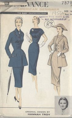"1950s Vintage Sewing Pattern B34"" DRESS, JACKET & SCARF (R8) By HANNAH TROY"