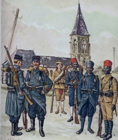 French Colonial Troops L to R Colonial infantry Private & Corporal 1914, Tonkinese Tirailleur 1914 and Senegalese Tirailleurs(the furthest right wearing the summer dress). By L & F Funken