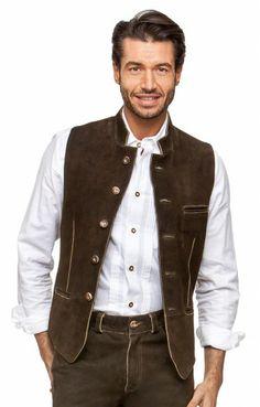 German leather waistcoat HOCHGRAT granite