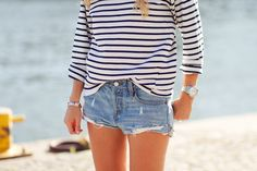 french striped shirt + jean shorts