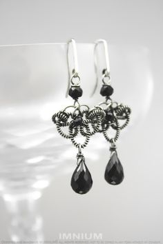 Small black earrings - wire wrapped sterling silver and faceted black spinel