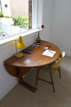 Kai Kristiansen 1955 Compass chair and Danish Kirkegaard Teak office desk. Home Office, Office Desk, Victorian Terrace House, Compass, Danish, Teak, Architects, Modern Furniture, Dining Table