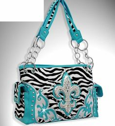 AwesomeNice Blue Zebra Print Western Style Fleur De Lis Purse