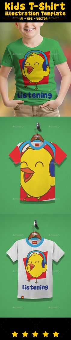 Bird Listening Kids TShirt — Vector EPS #boy #childrens • Available here → https://graphicriver.net/item/bird-listening-kids-tshirt/16361101?ref=pxcr