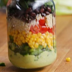 Featuring Mediterranean Lentil Salad, Quinoa Fruit Salad, Protein-Packed Roasted Vegetable Salad, Southwestern Salad and Crunchy Thai Salad Healthy Snacks, Healthy Eating, Healthy Recipes, Quick Recipes, Mason Jar Meals, Mason Jars, Southwestern Salad, Southwestern Chicken, Quinoa Fruit Salad
