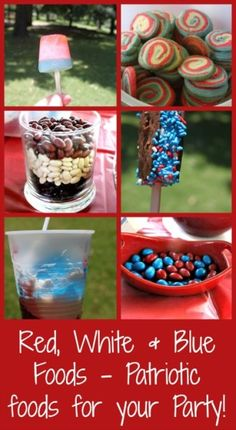 Red, White  Blue Foods for the 4th!  Popsicles, Ice Cream Bars, Jello, Cookies, etc.  - SidetrackedSarah.com