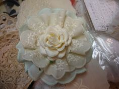 Gorgeous Handmade Vintage Flower  Mint Green and by jennings644
