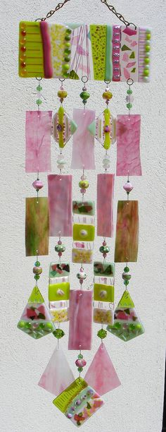 Kirk's Glass Art fused and stained glass windchimes Fused Glass Art, Mosaic Glass, Stained Glass, Diy Wind Chimes, Glass Wind Chimes, Mobiles, Dreamcatchers, Blowin' In The Wind, Arts And Crafts