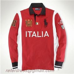 Hombres Fashion Ralph Lauren Polo Country Tees Italia Rojo and