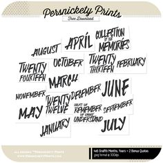 Persnickety Prints 4x6 Graffiti Month Cards- Perfect for Project Life