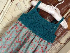 Girls Dress Age 2-3 yrs 100% Cotton Crochet Bodice Sundress Pinafore Apron