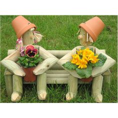 Wooden Garden Flowerpot Men, Two on a Bench with fresh plants