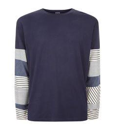 LOEWE Patchwork Stripe Sleeve T-Shirt. #loewe #cloth #