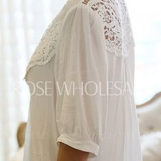 Lace Splicing Crochet Flower 1/2 Sleeve Casual Blouse For Women