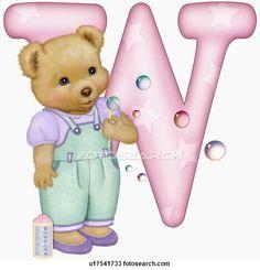 The capital letter W with teddy bear