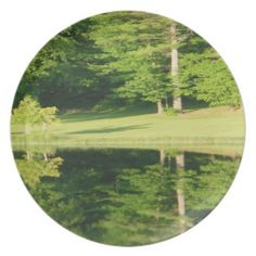 Trees Reflections Calm Waters Melamine Plate