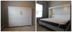 Our customer chose the Bedder Way Horizontal Queen Plank Face Murphy bed in oak painted white with black modern pulls. Beach House Bedroom, Home Bedroom, Bedrooms, Murphy Bed, Plank, Queen, Gallery, Face, Modern