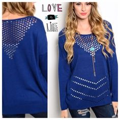 """VIBRANT BLUE DETAIL SWEATER Cut out eyelet designs on this sweater make it so unique. Change your color cami to have many different looks! Length: 25"""", 80% nylon/20% viscose. CUTE!                                                                                   PLEASE DO NOT BUY THIS LISTING.                             I will make you a personal listing. tla2 Sweaters"""