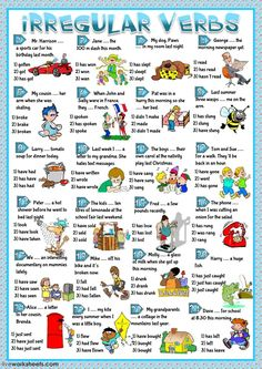 Irregular verbs practice Language: English Grade/level: elementary School subject: English as a Second Language (ESL) Main content: Irregular verbs Other contents: English Worksheets For Kids, Verb Worksheets, Number Worksheets, Alphabet Worksheets, Irregular Past Tense, Irregular Verbs, English Verbs, English Vocabulary, English Lessons
