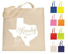 Personalized Tote Bags from Sip Hip Hooray! Wedding Favor Bags, Destination Wedding Tote Bag, Canvas Wedding Tote Bags! Monogrammed Bags! Customized