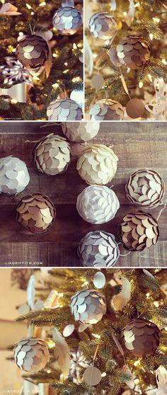 Enfeites de bola com papel metálico! #natal – Blog Ju Araujo