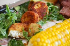 I can not wait to try this amazing dinner!  Fried green tomatoes and fried goat cheese ... oh my!