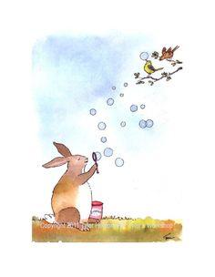 Bunny Rabbit Greeting Card - Funny Bunny & Birds Watercolor Painting/ Illustration Cartoon Print 'Bubble Bunny'. $3.50, via Etsy.