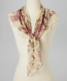 Look at this Zashi Fuchsia & Cream Floral Silk Scarf on #zulily today!