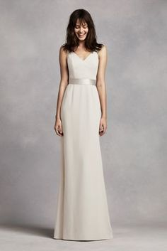 Superb Long V Neck Crepe Gown with Open Back Style VW