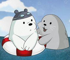 Ice bear made a new friend Bear Wallpaper, Kawaii Wallpaper, Cute Wallpaper Backgrounds, Cute Cartoon Wallpapers, Ice Bear We Bare Bears, We Bear, Cartoon Profile Pics, Cartoon Pics, Cute Animal Memes