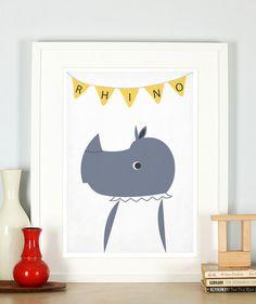 Retro poster rhino savannah animals rhinoceros by EmuDesigns