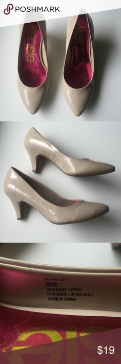 "Kensie Girl Size 8 Nude Patent Heels Super cute, worn a few times around the office. A few scuffs but are in great shape. 2 1/2"" heel. Kensie Shoes Heels"