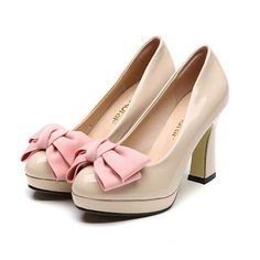 Spring 2017 New Blue Black Apricot Bowtie Patent Leather Bow Waterproof Singles Women Shoes Pumps Thick Heels Large Size ZK2.5