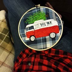 In progress, but all done free hand...no pattern.  #plaidshirts #plaidworld #vw #christmas #em #embroidery