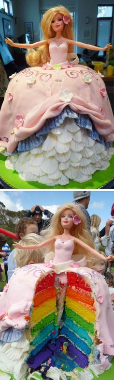 Holly loved her Barbie princess cake and was blown away by the surprise rainbow inside ;)