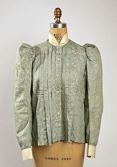Printed blue cotton shirtwaist with white collar and cuffs, American, 1896-98.