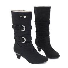 $34.47 Casual Suede Belt Buckle Rivet Design Women's Boots