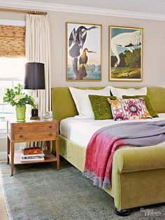 An apple green velvet bed hits this room with a punch of color! Love the Audubon Birds of America prints over the bed Home Bedroom, Bedroom Wall, Master Bedroom, Bedroom Decor, Bedroom Ideas, Budget Bedroom, Wall Decor, Girls Bedroom, Stairs Master
