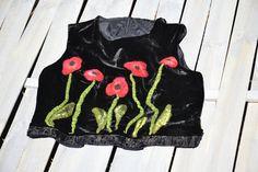 Nuno felted jacket poppies blouse poppies Wearable by MyEspresso #feltedflowers #flowers #felted #fashionfelted #textileart #feltedart #designer #modadamska #women #etsyshop #kwiaty