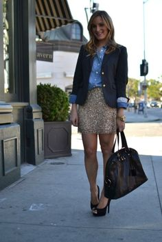I love adding sparkles to a classic chambray shirt and blazer!  www.casualglamorous.com How do you sparkle? http://theglitterguide.tumblr.com/submit