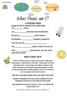 WHAT PLANET AM I?   WHAT PLANET AM I?  READ THE CLUES - TRY TO GUESS THE PLANET - FLIP UP TO FIND THE MYSTERY PLANET Children will enjoy creating this mystery planet poem for others to solve. At the same time everyone is learning fun facts about planets in our solar system.