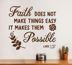 Inspirational Bible Verse Christian Quote Wall Decal - Luke 1:37 - 30x28in / 76x71cm / White