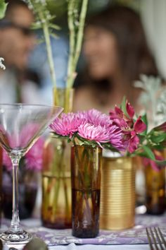 pink, brown glass and gold centerpieces