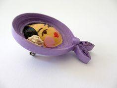 Violet babushka brooch