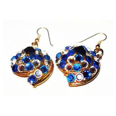 "Blue Rhinestone Snail Earrings Nautical French Wire Hooks High End 2""... ($15) ❤ liked on Polyvore featuring jewelry and earrings"