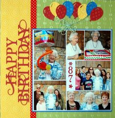 Happy Birthday layout from Debbie Standard on the Core'dinations blog
