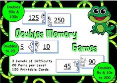 3 levels of difficulty: Doubles to 20, Doubles using 5s and 10s, Doubles using 100s to 10,000.Match the two cards using doubles facts. If the answer is correct, the cute animal picture will be completed correctly.This package includes:3 sets of cards 20 pairs per level120 cards in totalInstructionsLeave feedback and receive TPT credit!Did you know that you can build up TPT credit by leaving feedback on my products?